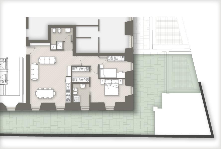 Masone 15 bergamo appartamento con giardino for Planimetria appartamento